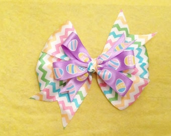 Easter Egg Chevron Stacked Pinwheel Boutique Hair Bow - Chevron Stacked Pinwheel Hair Bow