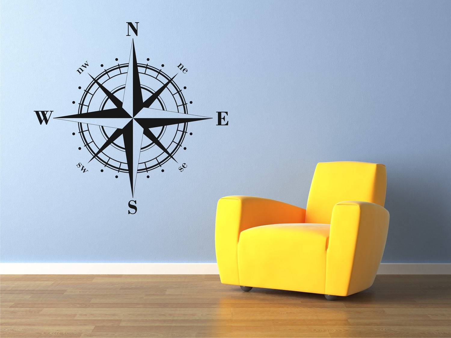compass rose decal nautical wall decal compass rose sticker. Black Bedroom Furniture Sets. Home Design Ideas