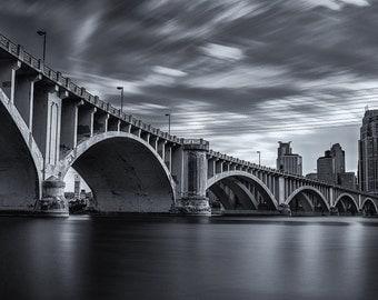 Third Avenue Bridge, Minneapolis, Minnesota, Mississippi River, Panorama, Black and White, 3rd Avenue - Travel Photography, Print, Wall Art