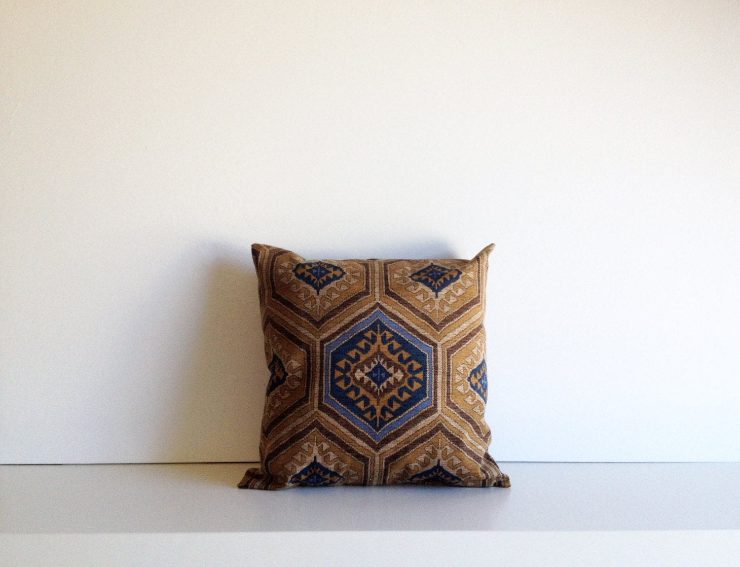 Southwestern Throw Pillow Covers : Southwestern Pillow Cover Denim Blue Saddle Brown Tribal