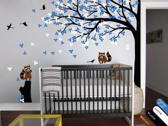 Modern nursery fall tree wall decal children 39 s room decor - Modern nursery wall decor ...