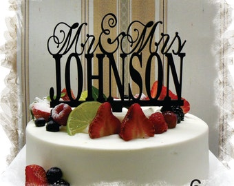 Wedding Monogram Mr and Mrs Cake Topper With Your Last (Family)Name - Custom Wedding Cake Topper