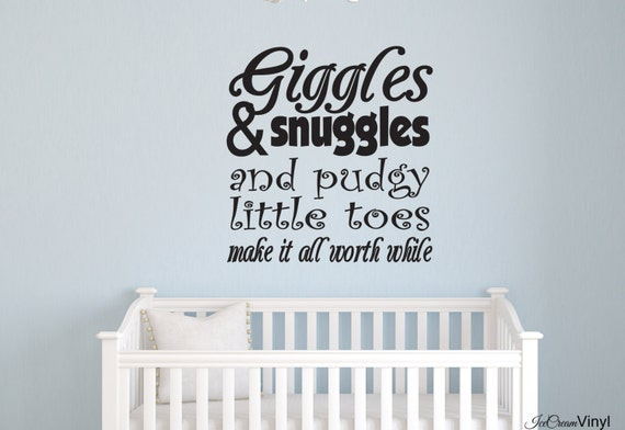 Giggles and Snuggles Wall Decal Nursery Wall Art Children's Decor -Boy's Room- Vinyl Lettering Girl's Room