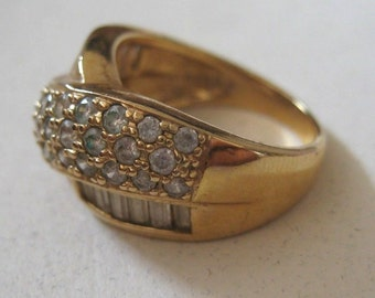 Vintage Gold over sterling silver ring with CZ, size 7