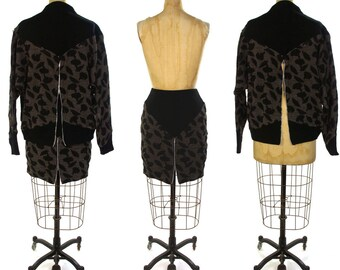 80s French Sweater Set / Vintage 1980s Designer Batwing Knit Top and Matching Pencil Skirt / Punk Avant Garde Zippers / Paris / Medium