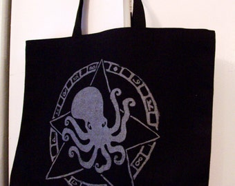 OCTOPUS GOD jumbo bag screen printed black recycled fabric made in the USA original limited edition design eco friendly cephalopod scuba art