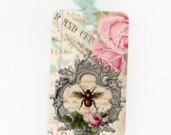 French Tags , Bee Gift Tags , Bee and Roses Tags , French Bee , Shabby and Chic Tags