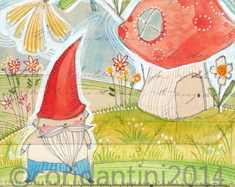 watercolor illustration of a gnome and mushroom - 8 x 8 archival limited edition print by cori dantini