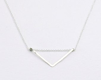 Chevron necklace - sterling silver necklace - triangle necklace - minimalist necklace - hammered jewelry - delicate necklace- Silver chevron