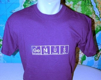 GeNiUS Kids' T-shirt Embroidered in Periodic Table Letters Short Sleeve T   Made to Order