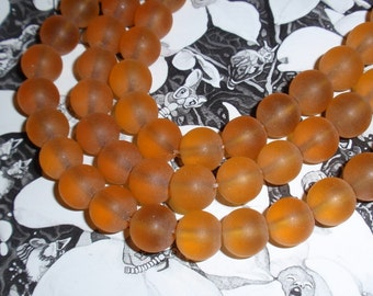 Beads,Honey Amber 10mm Matte Glass Bead Strand WHOLESALE PRICE