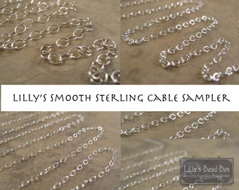 Silver Chain Sampler, Three Different Smooth Cable Chains, 3 Sterling Silver Chains, 12 Inches Each, Thin Silver Chain Mix, Jewelry Supplies