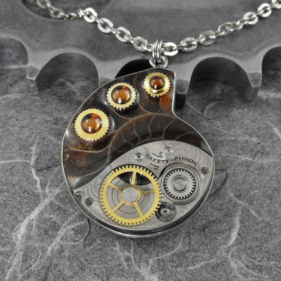 RESERVED for creativminds Steampunk Ammonite Fossil Necklace - The Fossilized Spiral of Time by COGnitive Creations