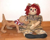 Primitive    Raggedy Doll and Dog PDF Epattern Instant Download