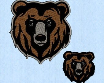 Bear face head Machine Embroidery Design File in Two Sizes