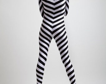Black and White Luxury Chevron Spy Bodysuit