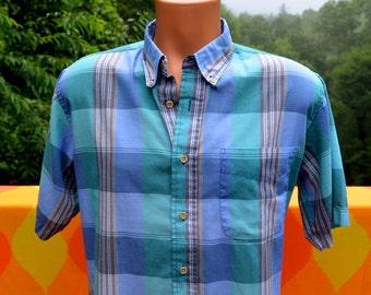 vintage 70s shirt pastel PLAID short sleeve button down andhurst Large preppy teal blue green 80s