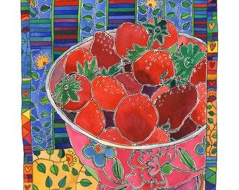 Pink Bowl and Red Strawberries - Digital Fine Art Print