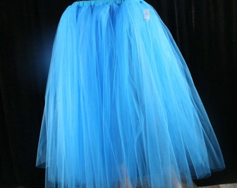 ready to ship Adult tutu skirt long Turquoise puffy petticoat two layer dance formal wedding bridal prom gypsy -Medium- Sisters of the Moon