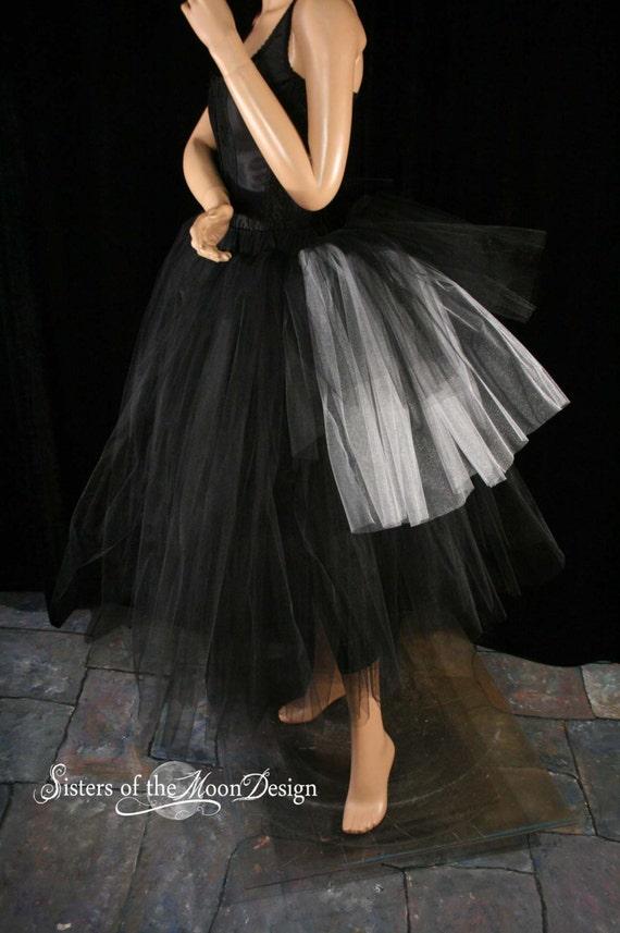 Black bustle back white jack halloween prom bridal gothic wedding