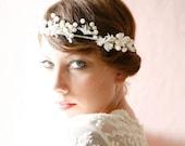 White flower crown, Ivory pearl wedding circlet, Bridal pearl headpiece, Wedding hair wreath, Flower pearl hair crown - WHISPER