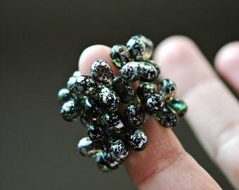 White Christmas - Czech Glass Beads, Translucent Aqua, Green, Metalic Silver, Teardrops 9mm - Pc 15