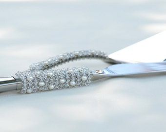SWAROVSKI CRYSTAL Beaded Wedding Cake Server And Knife, Couture Cake Cutter Set, GENUINE Fresh Water Pearls