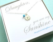 Sun & Birthstone Hand Stamped Necklace Sunshine Charm Personalized Jewelry Daughter Gift Birthstone Necklace Sentiment Sun Jewelry Card
