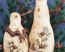 Cloth Doll E-Pattern  Unique Primitive Country Snowmen