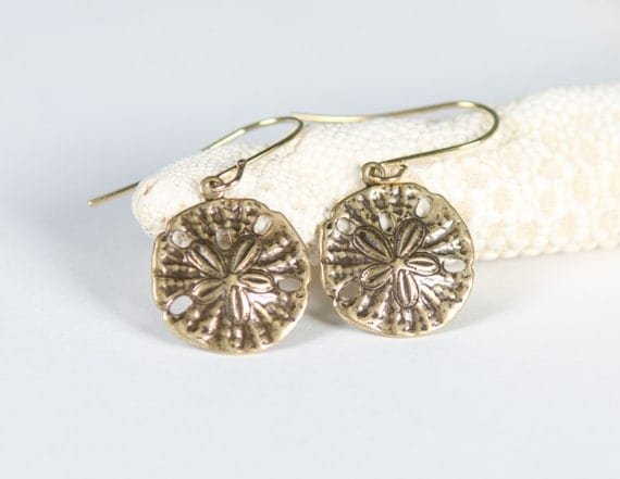 Sand Dollar Earrings, Gold, Unique, antiqued, pretty, stamped, charm, nature-inspired, beach, ocean, sand,  jewelry, Handmade in Santa Cruz