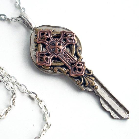 Key Necklace Handmade Jewelry - Key to the Kingdom - Cross Pendant