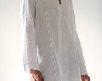 100% Linen djellaba style men's shirt (5702)