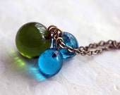 Green and Blue Glass Marble Pendant  Lampwork Glass Drops  Forest Green, Aqua Blue  Long Charm Necklace  Spring Fashion  Gift Box