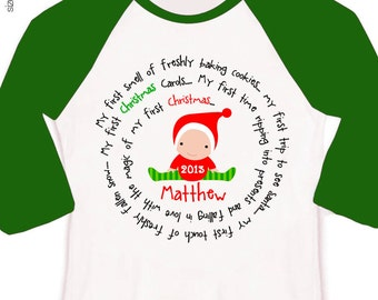Babys first Christmas shirt or bodysuit for baby boy or girl adorable for all the Christmas gatherings RAGLAN sleeves