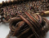 Yarn worsted 2 skeins Cinnabar brown cotton blend 200 yards, dark brown tan red knitting crochet Life's an Expedition, dj runnels