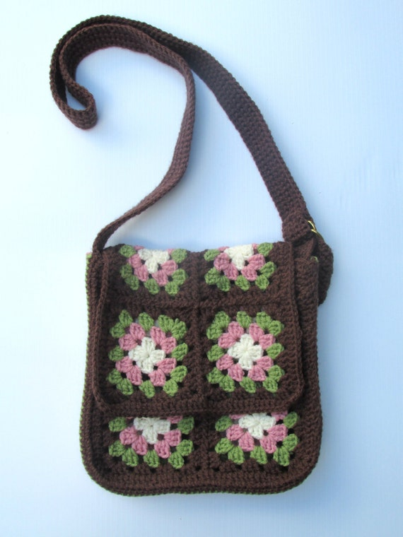 Granny Square Tote Bag : Granny Square Purse Tote Bag Crochet Brown Green by ALottaStitches