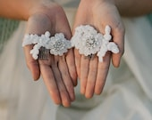Hand beaded bridal lace motif on 2 combs  - Style : Head Piece