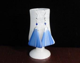 Blue & White African Wedding Trade Bead Earrings, Triangle Glass Bead Dangle Earrings- Sterling Silver Earrings