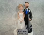 Custom Bride & Groom with Guitar Wedding Cake Topper