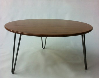 "34"" Round Mid Century Modern Coffee Table - Atomic Eames Era Design In Caramelized Bamboo"