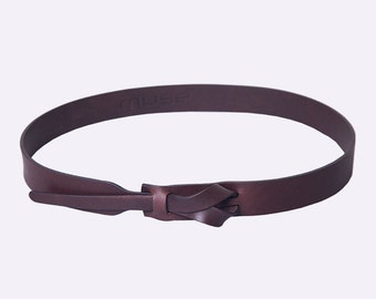 Skinny Leather Belt in Dark Brown by Muse 1 inch