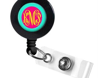 Monogram Badge Reel, Monogram ID Badge, Monogram Retractable Badge Reel, Personalized Badge Reel (494)