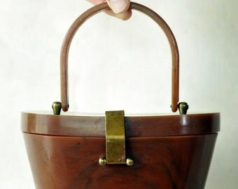 Vintage Art Deco Bakelite Handbag/Purse with Brass Trim - 1940s - 1950s
