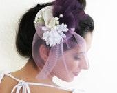 Ready to ship today Bridal fascinator white mauve eggplant wedding fascinator hairpiece WINTERLICIOUS BRIDE
