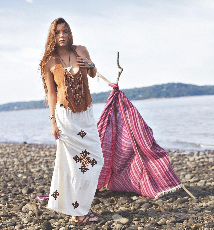 vintage 80s embroidered maxi skirt white cotton tribal boho