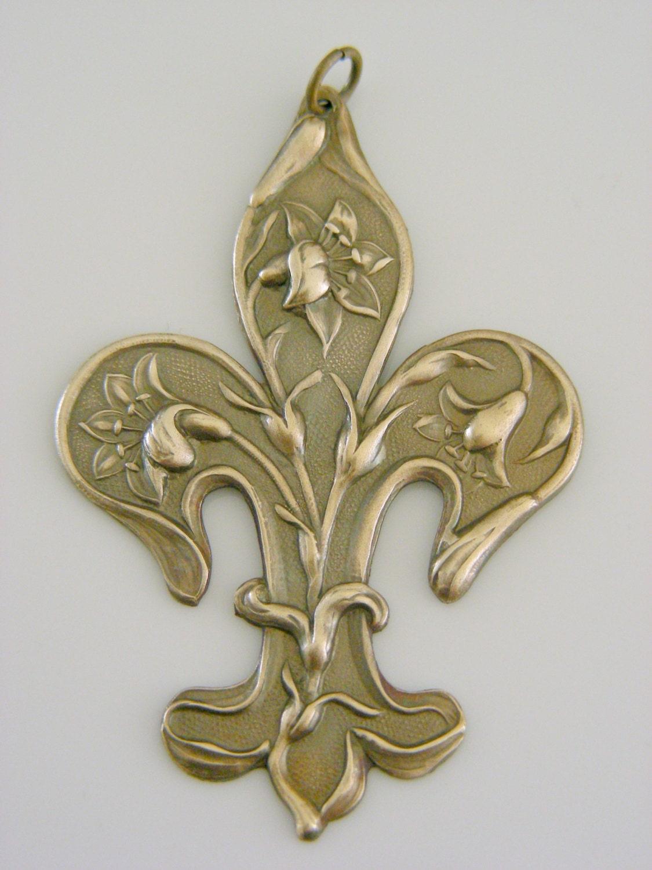 Fleur De Lis Pendant Vintage Brass Large Pendant For Necklace