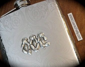 Pocket Flask Silver Monkeys Gothic Victorian Steampunk Flask 6 Ounce Stainless Steel Hip Flask