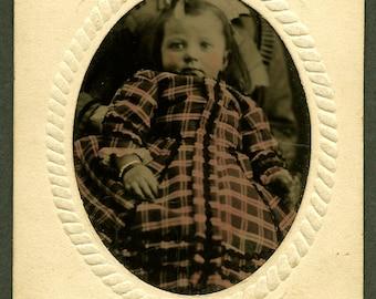 Hidden Mother - Hand Tinted - ID'd - 1860s - Antique Tintype