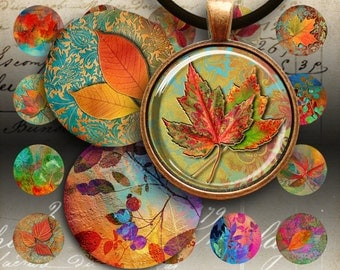 30 mm AUTUMN LEAVES CIRCLES - Printable digital images for round pendants, bezel trays, glass cabochon mountings, cameo settings, Art Cult