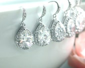 15% OFF SALE - Set of 5, FIVE Pairs. Large Pear Teardrop Cubic Zirconia Earring. Bridesmaid Gift, Bridesmaid Earring, Clear Crystal Wedding,